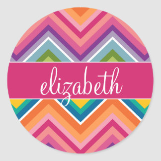 Huge Colorful Chevron Pattern with Name Stickers