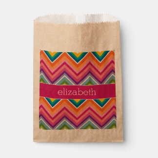 Huge Colorful Chevron Pattern with Name Favor Bags