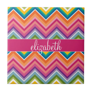 Huge Colorful Chevron Pattern with Name Ceramic Tile