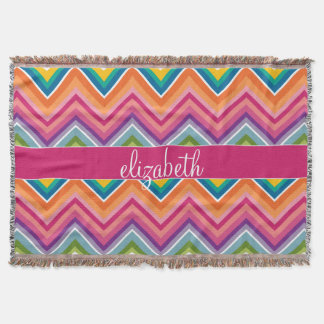 Huge Colorful Chevron Pattern with Name Throw Blanket
