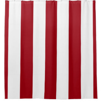 Huge Cranberry Red White Vertical Stripe NL #3 Shower Curtain