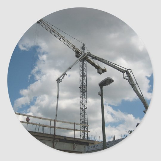 Huge Crane Constructing Building Classic Round Sticker