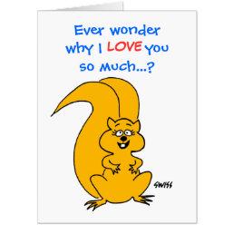 HUGE Cute Cartoon Squirrel Love or Friendship Fun Card