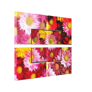HUGE  Daisies Quadtych Art Wrapped Canvas