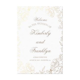 Huge Floral Golden Wedding Welcome Sign