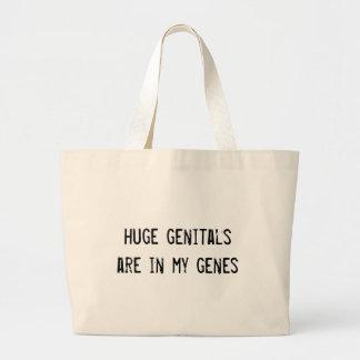huge genitals are in my genes large tote bag