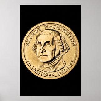 Huge Gold Washington Dollar Coin Poster