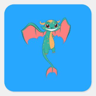 Huge Grin Mythical Flying Dragon Square Sticker