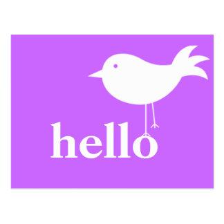 Huge HELLO with Bird Postcard