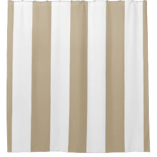 Huge Khaki White Vertical Stripe NL #3 Shower Curtain