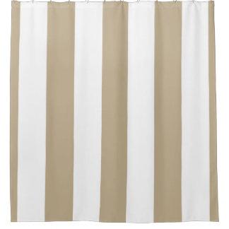 Huge Khaki White Vertical Stripe NL #3 Shower Curtain