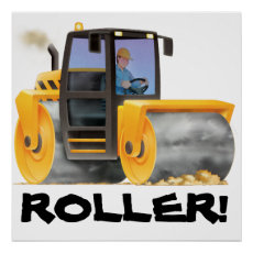 HUGE Kid's Construction Road Roller Poster