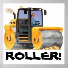 HUGE Kid's Construction Road Roller Poster