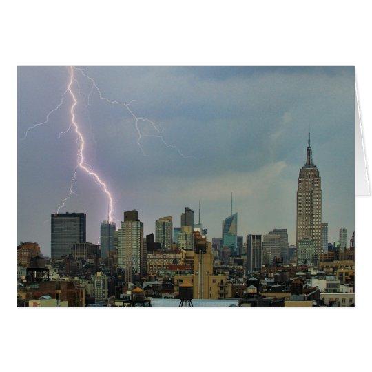 Huge Lightning Strike Over Midtown NYC Skyline Card