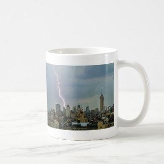 Huge Lightning Strike Over Midtown NYC Skyline Mug