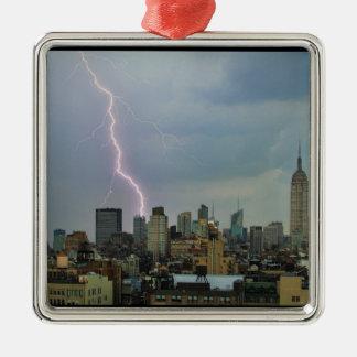 Huge Lightning Strike Over Midtown NYC Skyline Square Metal Christmas Ornament