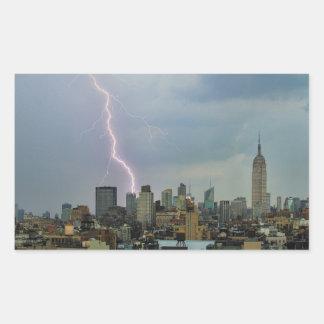 Huge Lightning Strike Over Midtown NYC Skyline Sticker