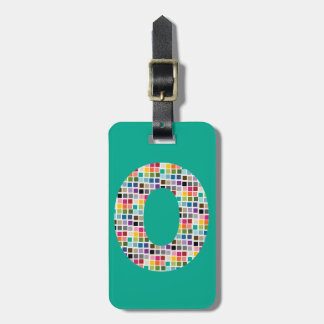 Huge Monogram Letter O - colorful square pattern Luggage Tag