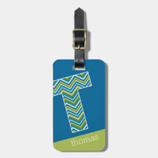 Huge Monogram Letter T Bright Blue Chevrons Bag Tag