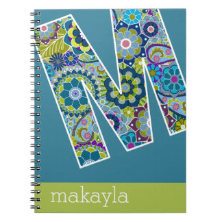Huge Monogram with Colorful Flowers Letter M Spiral Note Book