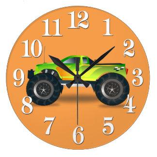 Huge Monster Truck Speedway-lover Design Large Clock