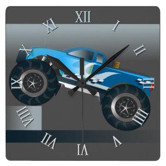Huge Monster Truck Speedway-lover Design Square Wall Clock