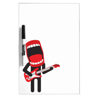 huge mouth guitar player dry erase white board
