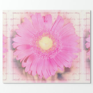 Huge Pink Gerbera Daisy Flower Collage Wrapping Paper