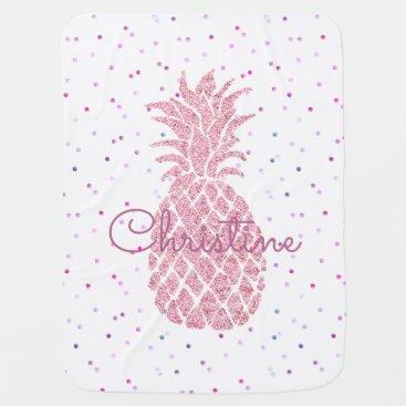 Toddler & Baby themed huge pink pineapple girly receiving blanket