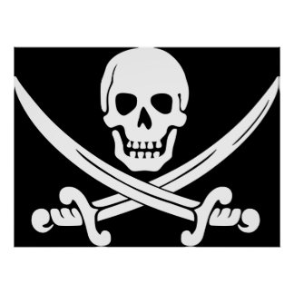Huge Pirate Poster with white Scull and Swords