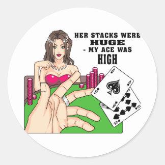 Huge Poker Stacks Classic Round Sticker