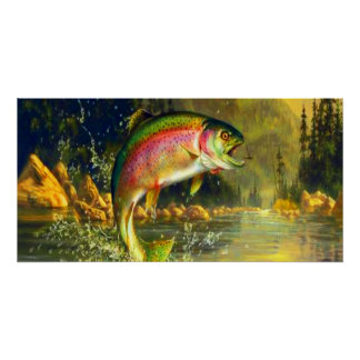 Huge Rainbow Trout Jumping Poster
