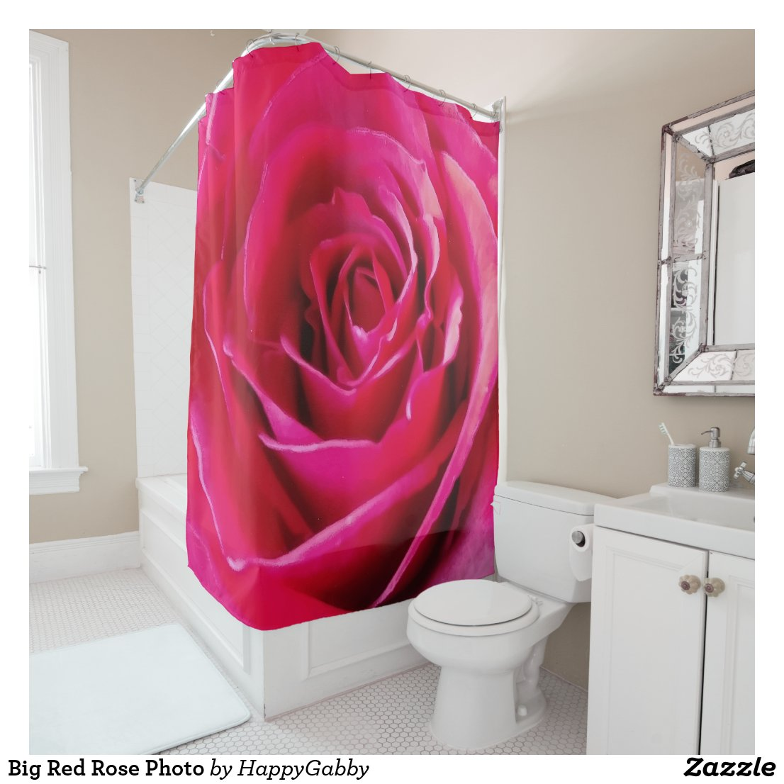 Huge Red Rose Closeup Print Shower Curtain