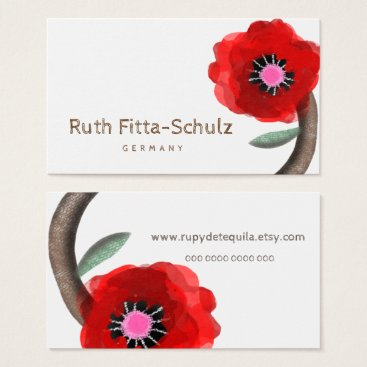 Professional Business Huge Red Stems Watercolour Rose Business Card
