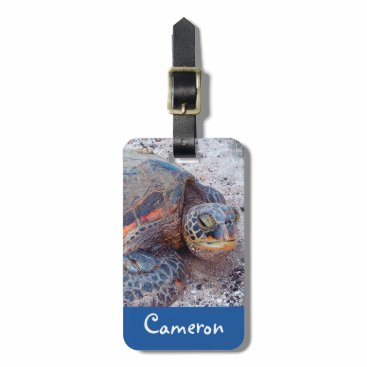 "Beach Themed Huge sea turtle photo ""your name here"" luggage tag"