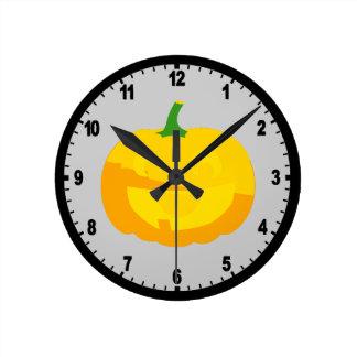 Huge Smile Jack-O-'Lantern Round Clock