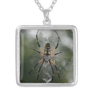 Huge Spider / Yellow & Black Argiope Silver Plated Necklace