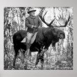 Huge Teddy Roosevelt Riding A Bull Moose Print