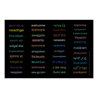 Huge Welcome in Languages of INDIA, 5 Sizes, BLACK Poster