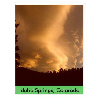 Huge Yellow Clouds Sunset Postcard