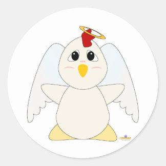 Huggable Angel White Chicken Classic Round Sticker
