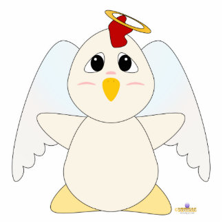 Huggable Angel White Chicken Photo Sculpture Ornament