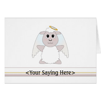 Huggable Angel White Sheep Card
