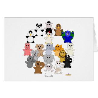 Huggable Animal Peace Sign Card