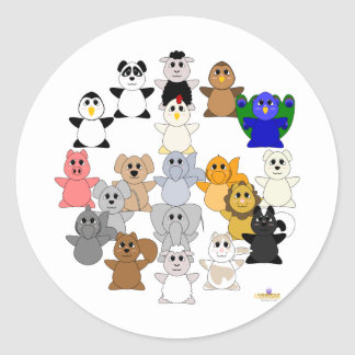 Huggable Animal Peace Sign Round Sticker