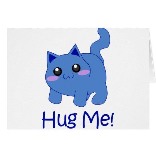 huggable blue kitten greeting card