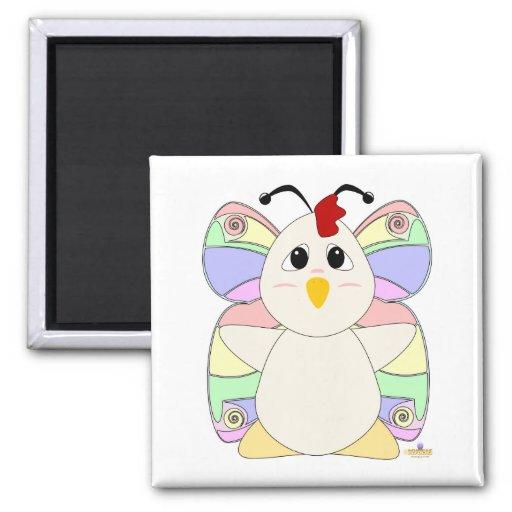 Huggable Butterfly White Chicken Refrigerator Magnet