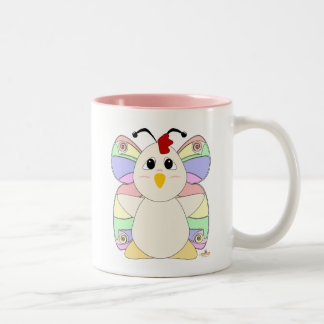 Huggable Butterfly White Chicken Two-Tone Coffee Mug