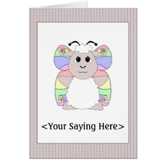 Huggable Butterfly White Sheep Card