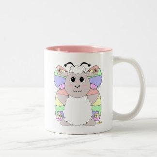 Huggable Butterfly White Sheep Two-Tone Coffee Mug